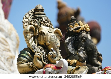 Ganesh statue in Chachoengsao province of thailand. - stock photo