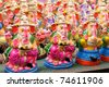 Ganesha dolls made of clay, hand painted at a local market - stock photo