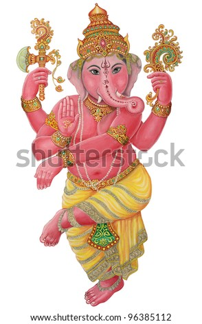 Ganesha Painting on white background with Clipping Part