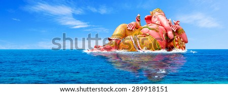 Ganesha's panorama, Hindu God and the god of success - stock photo