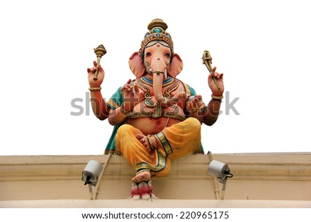 Ganesha Statue at the Sri Mariamman Temple, the oldest Hindu temple in Singapore - stock photo