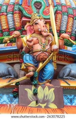 Ganesha statue in a Hindu temple in Sri Lanka (Trincomalee)  - stock photo