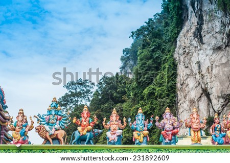 Ganesha statue in various type - stock photo