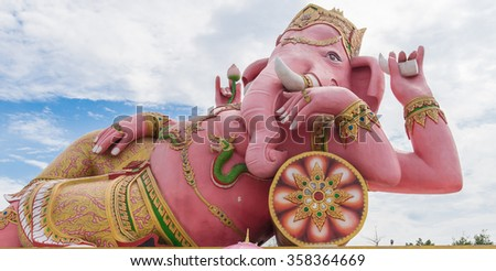 Ganesha with blue sky and cloud. - stock photo