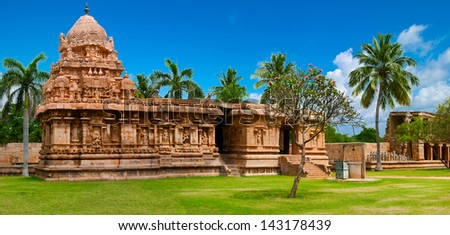 Gangaikonda Cholapuram Temple. Great architecture of Hindu Temple dedicated to Shiva. South India, Tamil Nadu, Thanjavur (Trichy). Six vertical images panorama - stock photo