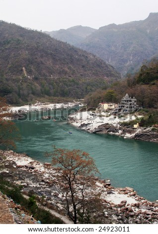 ganges river near rishikesh in india