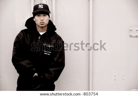 Gangsta rapper (Chuckie Ack of 21 Clipz) - stock photo