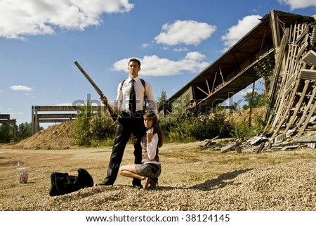 gangster and his girlfriend - stock photo