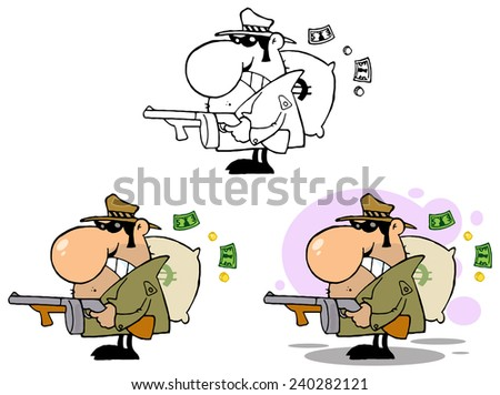 Gangster Holding A Machine Gun And Money Sack. Raster Collection Set - stock photo