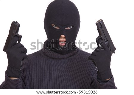 gangster in balaclava with two guns on a white background