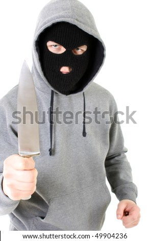 Gangster in black mask with knife
