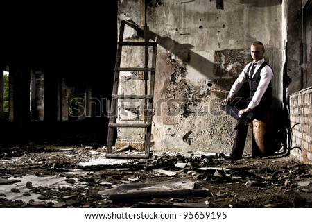 gangster in the scary place - stock photo