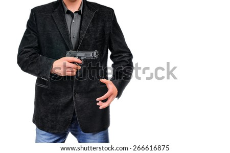 Gangster pulls out a gun businessman pull out gun from jacket concept for aggression - isolated on white background - stock photo