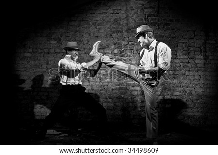 gangster's fight high kick - stock photo