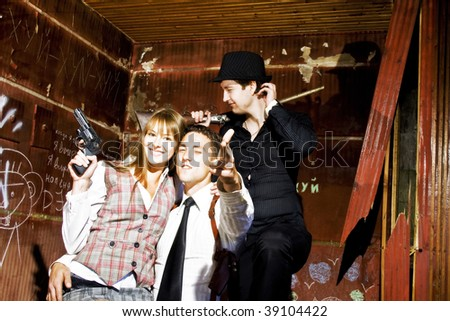 gangster's friendship - stock photo