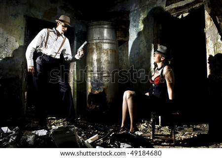gangster's life predator and victim - stock photo