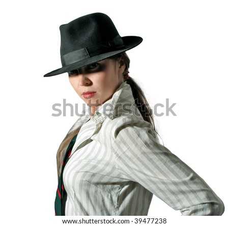 gangster-style woman in felt on white background