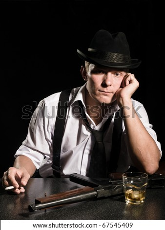 gangster. whisky. gun. have a nice rest! - stock photo