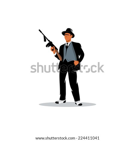 Gangster with a gun Branding Identity Corporate logo design template Isolated on a white background - stock photo