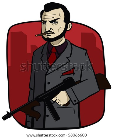 Gangster with a machine gun owns the city - stock photo