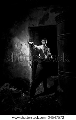 gangster with gun - stock photo