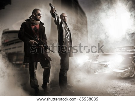 Gangsters and stylish old car - stock photo
