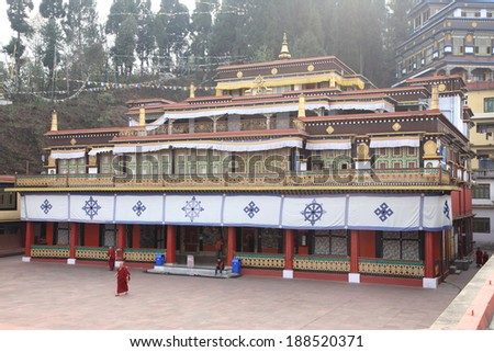 GANGTOK, SIKKIM/ INDIA-april 10: Beautiful Buildings of Rumtek Monastery on april 10, 2014 in Gangtok. Rumtek Monastery is among Sikkim most famous monuments. - stock photo