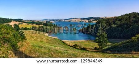 Ganguise lake (Lac de la Ganguise or Retenue de l'Estrade in french), Aude region, southern France - stock photo