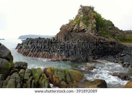 Ganh Da Dia or Ghenh Da Dia or Da Dia Rapids at Tuy Hoa, Phu Yen, Viet Nam, with amazing nature landscape at seaside, fantastic shape make interesting place for Vietnam travel,beautiful panoramic