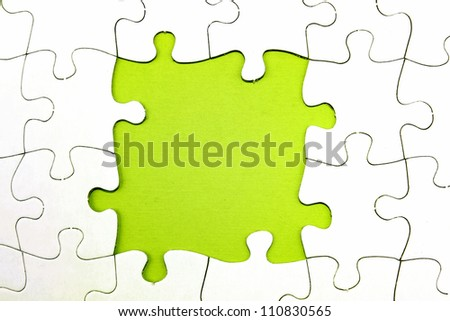 Gap in jigsaw puzzle pieces, copy space - stock photo