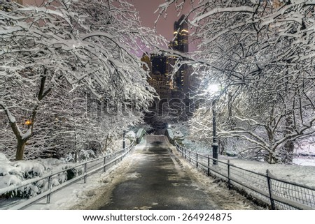 Gapstow Bridge is one of the icons of Central Park, Manhattan in New York City during snow storm - stock photo
