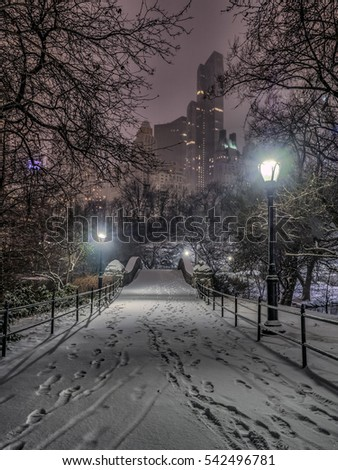 Gapstow Bridge is one of the icons of Central Park, Manhattan in New York City during snow storm at night