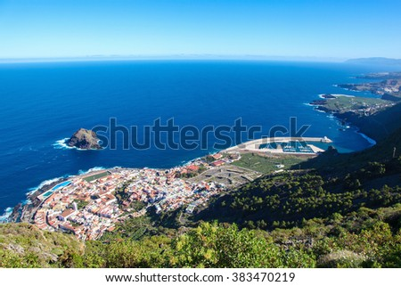 GARACHICO, SPAIN - JANUARY 20, 2016: View from above on the town of Garachico, Tenerife, Canary Islands, Spain - stock photo