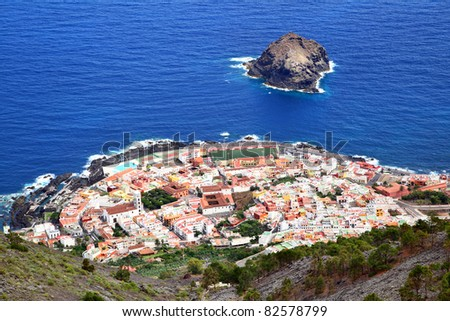 Garachico town on the coast of Tenerife.  Canary Islands. - stock photo