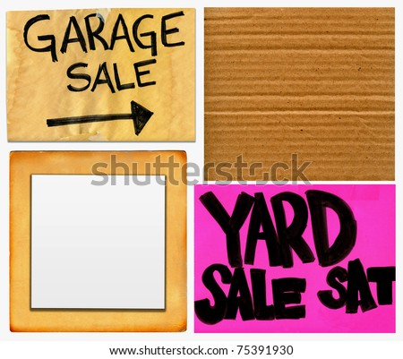 Garage And Yard Sale And Blank Cardboard Signs Set - stock photo
