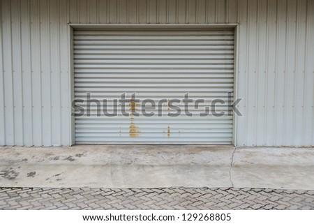 Garage door at a huge building - stock photo