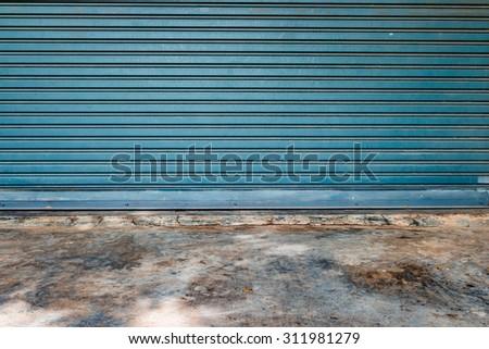 Garage door pattern floor mortar old background - stock photo