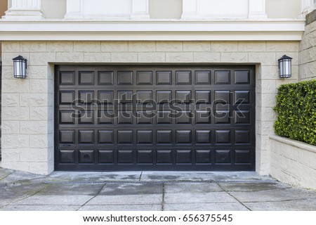 Garage door with a square pattern