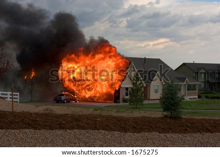 garage fire - stock photo