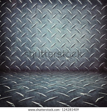 garage floor and room of diamond  plate ; metal background - stock photo