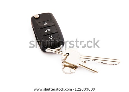 Garage remote control over white background - stock photo
