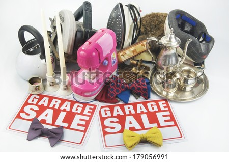 Garage Sale Items And Signs - stock photo