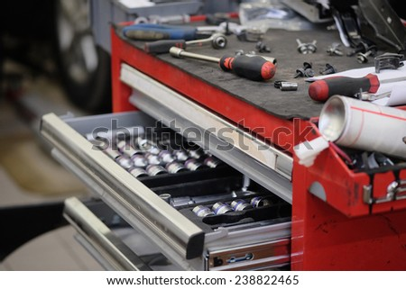 Garage tool box  - stock photo
