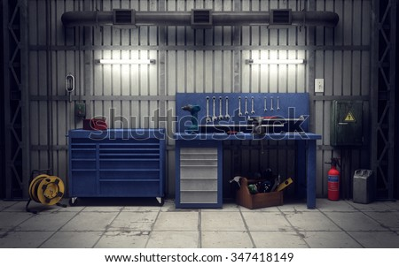 Garage workshop with tools & equipment. 3d rendering - stock photo