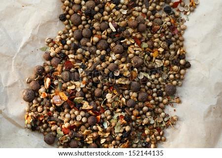 Garam masala on paper - stock photo