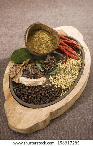 Garam Masala or Group of Indian Spices - stock photo