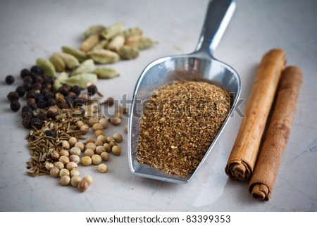 Garam Masala with cinnamon, pepper, cumin, coriander and cardamom. - stock photo