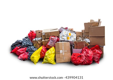 garbage bag and paper box for recycle isolated on white background recycle concept. - stock photo