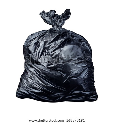 Garbage bag isolated on a white background as a symbol of waste management and environmental issues as a throw away black plastic sack full of  dirty smelly trash and useless junk. - stock photo
