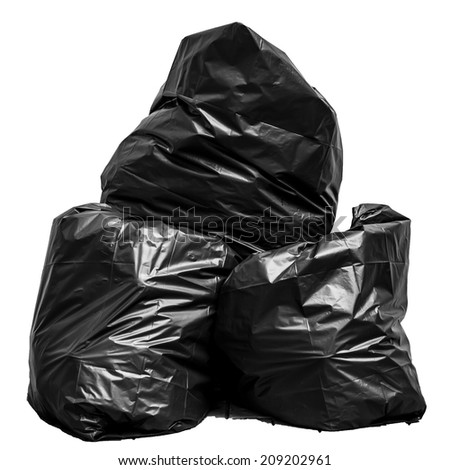 Garbage bag isolated on white background - stock photo